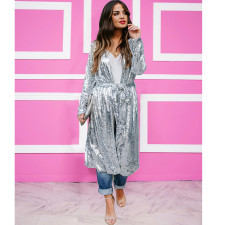 Trendy Sequin Long Sleeve Sashes Maxi Coats TR-1000