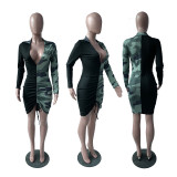 Camouflage Print Patchwork Long Sleeve Bodycon Dress YIM-8083