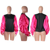 Casual Patchwork Puff Sleeve Sweatshirt Tops MOF-5135