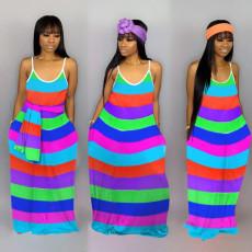 Rainbow colorful striped maxi dress MTY-6278
