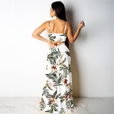 Sexy Floral Printed High Split Two Piece Skirt Set SMN-3152