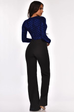 Sexy Deep V Neck Sashes Long Sleeve Jumpsuit OSM-4094
