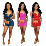 Sexy Denim Crop Tops Jeans Shorts 2 Piece Sets PN-6170