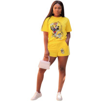 Cartoon Print T Shirt And Shorts Two Piece Sets YN-9095