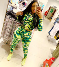 Camouflage Print Hoodies Two Piece Pants Set AWN-5063