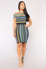 Sexy Stripe Off Shoulder Bodycon Dress JH-004
