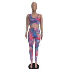 Tie Dye Print Bodycon Fitness 2 Piece Sets SMD-5906
