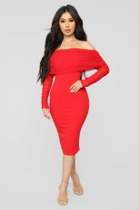 Sexy Slash Neck Long Sleeve Bodycon Dress LX-6300