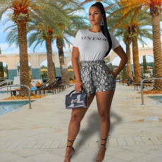 Plus Size Snake Skin Print T Shirt And Shorts 2 Piece Set YH-5081