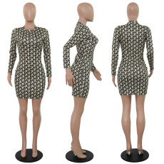 Fashion Print Long Sleeve O Neck Bodycon Dress PN-6258