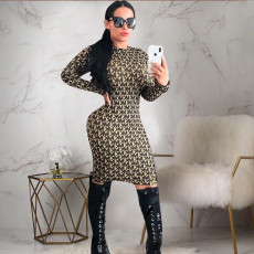 Fashion Print Long Sleeve O Neck Bodycon Dress PN-6258