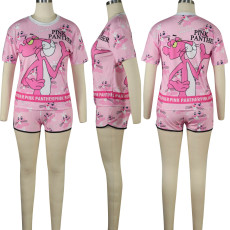 Casual Cartoon Print T Shirt And Shorts 2 Piece Sets TE-3787