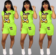 Plus Size Cartoon Print Shorts 2 Piece Set QY-5090-2