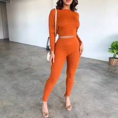 Solid Knitted Sweater And Pants Two Piece Sets PN-6270-1