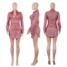 Sexy Shiny Long Sleeve Turndown Collar Mini Dress NIK-089