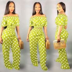 Plus Size Polka Dot Wide Leg Pants 2 Piece Suit PIN-8377