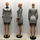 Letter Print Mesh Long Sleeve Knee Length Dress MAE-162