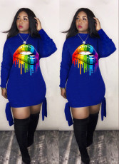 Plus Size Lips Print Long Sleeve Mini Dresses LM-8082-1