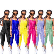 Sexy Striped Calf Length Strap Jumpsuits MAE-2020