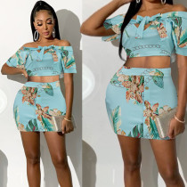 Sexy Floral Print Bow Tie Mini Skirt 2 Piece Sets PN-6322