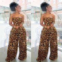 Leopard Print Strapless Bowknot Wide Leg Pants Set WSM-5093-1