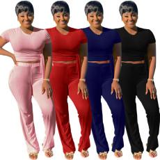 Solid Color Two Piece Pant Set SMR-9558