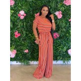 Casual Loose Striped Short Sleeve Jumpsuits CL-6042