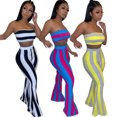 Stripe Tube Top Two Piece Pant Set HMS-5253