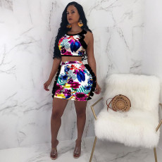 Floral Print Two Piece Skirt Set HMS-5141