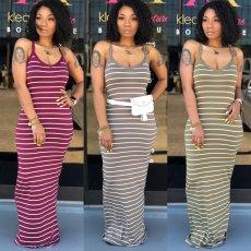 Stripe Summer Maxi Dress AIL-031
