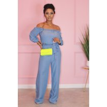 Light Blue Wide Leg Jumpsuit HMS-5285