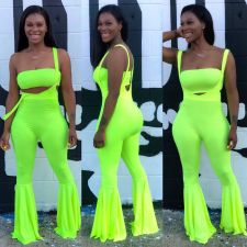 Sexy Solid Color Bib Two-piece Suit Big Flared Pants + Chest Wrap HMS-5245