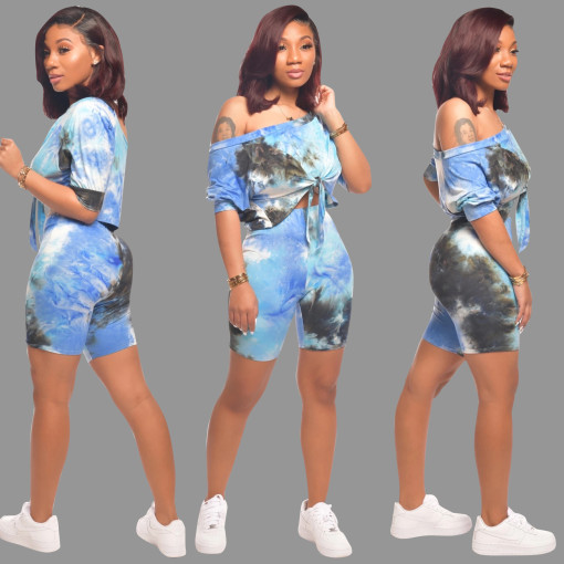 Tie Dye Print Tie Up Two Piece Shorts Sets SMD-2022