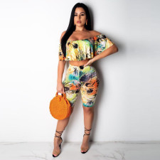 Floral Print Off Shoulder Two Piece Shorts Set NY-8745