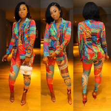 Colorful Printed Blazer Two Piece Suits CY-1994