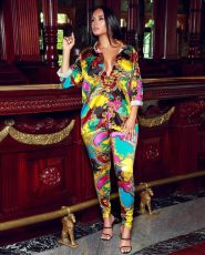 Colorful Printed Blouse Two Piece Pants Suit CY-1956
