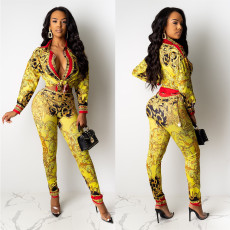 Casual Printed Blouse Two Piece Pants Set CY-1964