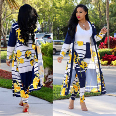Printed Long Cardigan + Pant 2 Piece Suit NY-8576