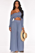 Sexy Off Shoulder Long Sleeve Wide Leg Pants Set LUO-3018
