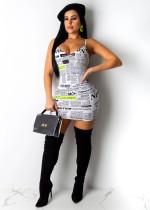 Newspaper Print Adjustable Strap Slim Mini Dress LUO-3017
