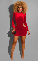 Sexy Velvet Long Sleeeve Hollow Bodycon Dress LUO-3043