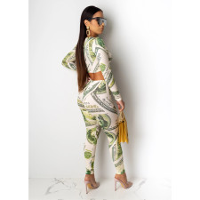 Dollar Printed Long Sleeve Two Piece Sets CHY-1196
