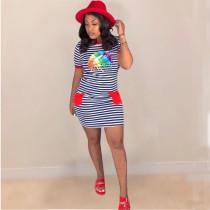 Casual Striped Lips Print Short Sleeve Mini Dress LUO-3019