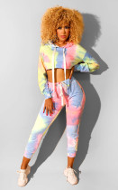 Tie Dye Printed Hooded Two Piece Pants Set LUO-3025
