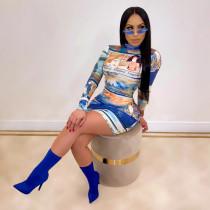 Sexy Pritned Long Sleeve Mini Dress CHY-1213