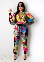Colorful Printed Tassel Long Sleeve 2 Piece Set LUO-3036