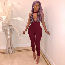 Sexy Hot Drilling Deep V Hater Bodycon Jumpsuit NY-8716