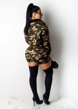 Camo Print Long Sleeve Two Piece Shorts Set LUO-3041