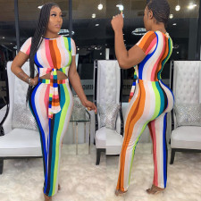Sexy Round Neck Striped Slim Fit Jumpsuit NY-8811