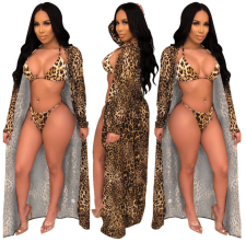 Copy Sexy Leopard Swimsuit 3Pcs Cover Up+Bikini Set YS-8321